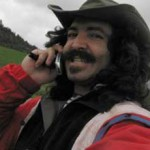 Alexey Steele contends with rural life by making a cellular call to the outside world.