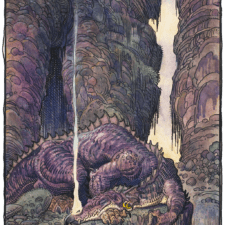 "American Legacy Fine Arts presents ""Fafnir Sleeps"" a painting by William Stout"