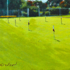 """American Legacy Fine Arts presents """"Putting Green in Contre-Jour"""" a painting by Alexander V. Orlov."""