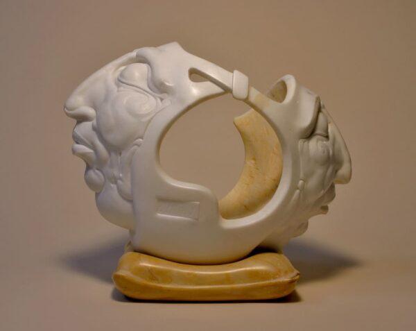 "American Legacy Fine Arts presents ""Sharing Space"" a sculpture by Béla Bácsi."