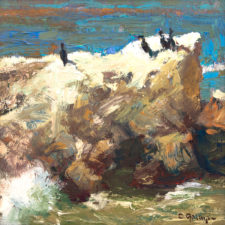 "American Legacy Fine Arts presents ""Sunny Day at Cormorant Rock"" a painting by David Gallup."