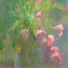 "American Legacy Fine Arts presents ""Floral Abstract-Harmony in Pink and Green"" a painting by David Gallup."