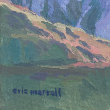 "American Legacy Fine Arts presents ""Evening Crumbles into the Hills; Angeles National Forest, Hwy 2, Near Red Box"" a painting by Eric Merrell."