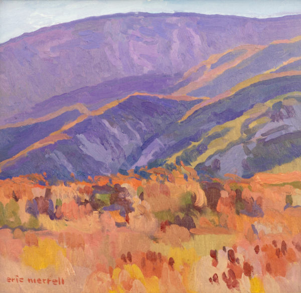 "American Legacy Fine Arts presents ""The Hills Singed by Summer; Highway 39, Angeles National Forest"" a painting by Eric Merrell."