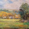 "American Legacy Fine Arts presents ""Farm Houses in Morning Mist; Las Virgenes Canyon"" a painting by George Gallo."