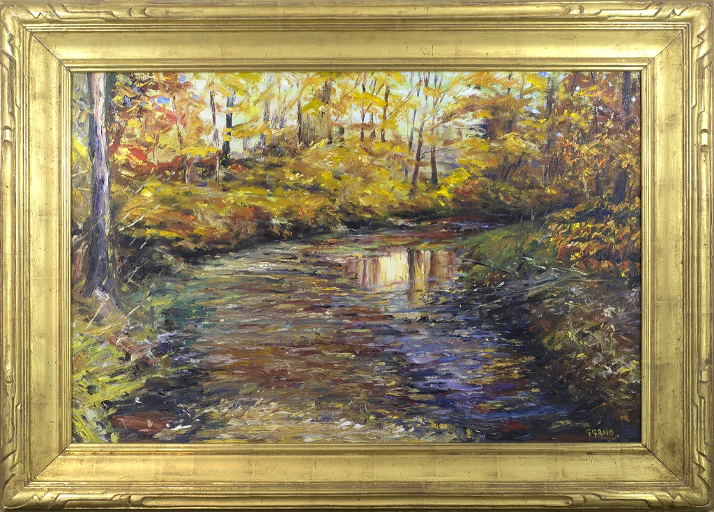 "American Legacy Fine Arts presents ""Reflections New Hope Pennsylvania"" a painting by George Gallo."