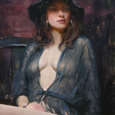 "American Legacy Fine Arts presents ""Ava in Sheer Blue"" a painting by Jeremy Lipking."