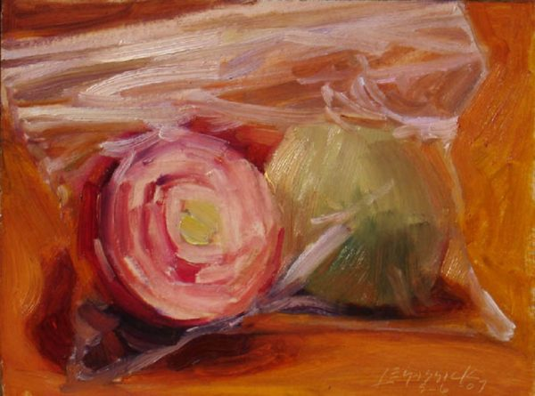 "American Legacy Fine Arts presents ""Ziplocked Onions"" a painting by Jean LeGassick."