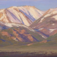 "American Legacy Fine Arts presents ""First Light Sweetwater Mountains"" a painting by Jean LeGassick."