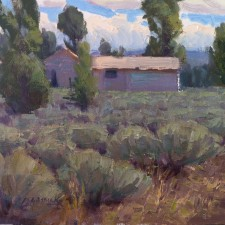 "American Legacy Fine Arts presents ""Cabin in a Sea of Sage; Jackson Hole, Wyoming"" a painting by Jean LeGassick."