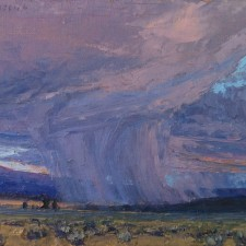 "American Legacy Fine Arts presents ""Valley Squall; Surprise Valley, California"" a painting by Jean LeGassick."