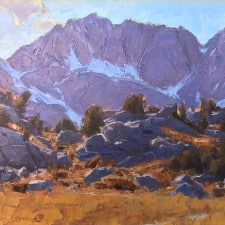 "American Legacy Fine Arts presents ""Along the Mono Pass Trail; Sierra Nevada Range, Near Bishop California"" a painting by Jean LeGassick."
