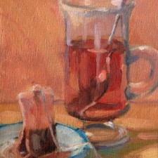 "American Legacy Fine Arts presents "" Tea Break' a painting by Jean LeGassick."
