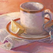 """American Legacy Fine Arts presents """"Tea with Lemon"""" a painting by Jean LeGassick."""