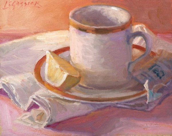 "American Legacy Fine Arts presents ""Tea with Lemon"" a painting by Jean LeGassick."