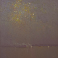 "American Legacy Fine Arts presents ""Nocturne in Blue Violet Grey"" a painting by Jennifer Moses."