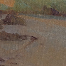 """American Legacy Fine Arts presents """"Dusk, Leo Carillo"""" a painting by Jennifer Moses."""