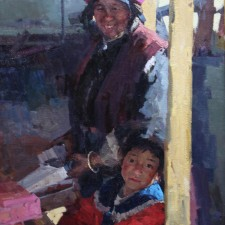"American Legacy Fine Arts presents ""Grandmother and Granddaughter at Market"" a painting by Jove Wang."