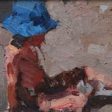 "American Legacy Fine Arts presents ""Blue Sun Bonnet"" a painting by Jove Wang."
