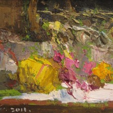 "American Legacy Fine Arts presents ""Pink and Yellow"" a painting by Jove Wang"
