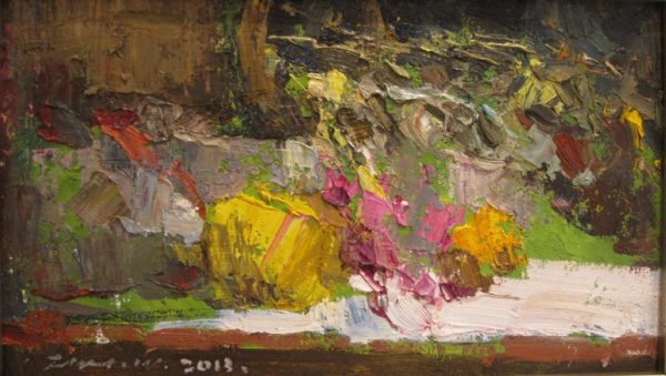 """American Legacy Fine Arts presents """"Pink and Yellow"""" a painting by Jove Wang"""