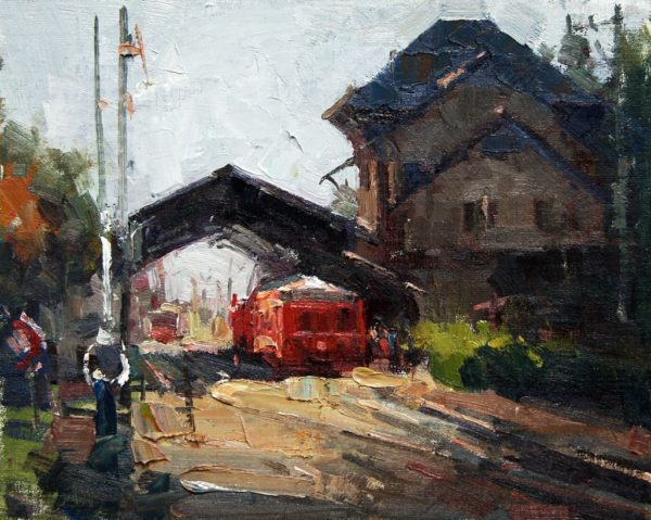 "American Legacy Fine Arts presents ""La Gare, Chamonix"" a painting by Jove Wang."
