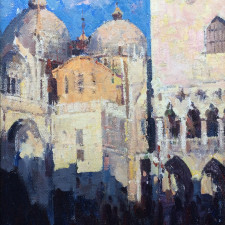 "American Legacy Fine Arts presents ""Summer Sunset at Piazza San Marco, Venice"" a painting by Jove Wang."