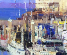 "American Legacy Fine Arts presents ""Cannery Row, Monterey, California"" a painting by Jove Wang."