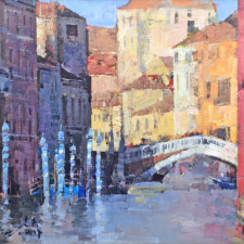 "American Legacy Fine Arts presents ""Hidden Canals, Venice"" a painting by Jove Wang."