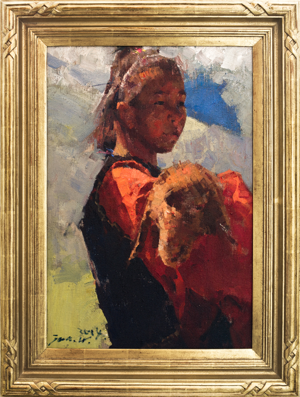 "American Legacy Fine Arts presents ""Tibetan Shepherdess"" a painting by Jove Wang."