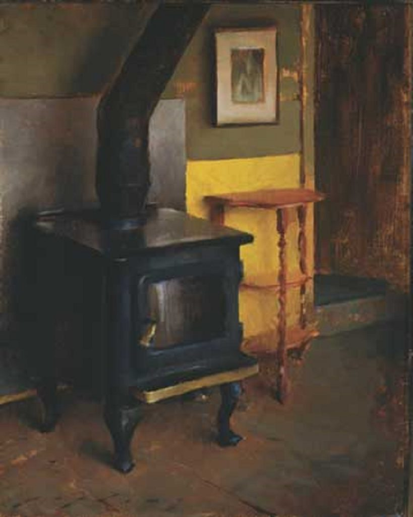 "American Legacy Fine Arts presents ""Interior with Stove; The Artist's Cabin Studio"" a painting by Jeremy Lipking."