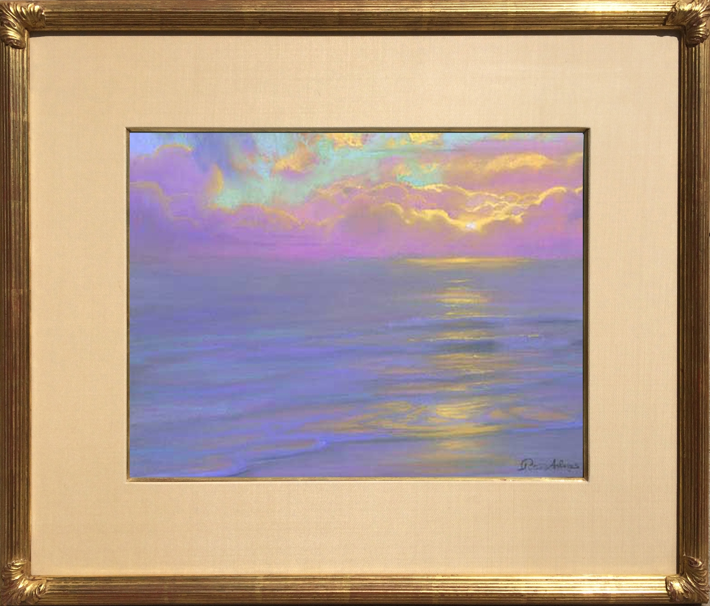 "American Legacy Fine Arts presents ""Lavender Horizon at Westward Beach; Malibu"" a painting by Peter Adams."