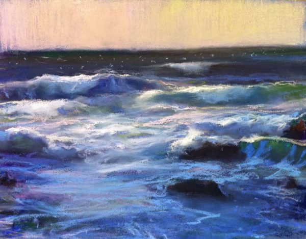 "American Legacy Fine Arts presents ""Windy Afternoon at Asilomar Beach, Monterey"" a painting by Peter Adams."