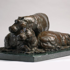 """American Legacy Fine Arts presents """"Hippos on the Mara"""" a sculpture by Peter Brookes."""