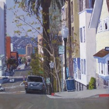 "American Legacy Fine Arts presents ""Downtown Bay View; San Diego"" a painting by Scott Prior."