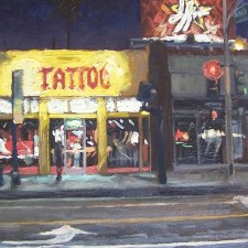 """American Legacy Fine Arts presents """"High Voltage Tattoo aka Kat Von D's Tattoo Shop, West Hollywood"""" a painting by Scott W. Prior."""