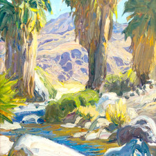 "Tim Solliday - Palm Springs Oasis, Oil on panel 14"" x 11"""