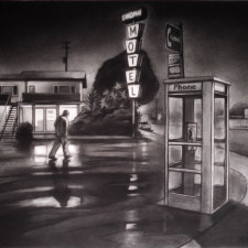 "American Legacy Fine Arts presents ""Sandman; Across from Randy's Donuts"" a painting by Tony Peters."