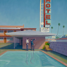 "American Legacy Fine Arts presents ""Motel Pool Cleaner"" a painting by Tony Peters."