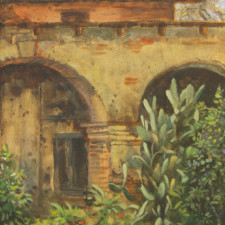 "American Legacy Fine Arts presents ""San Juan Capistrano Mission"" a painting by William Stout."