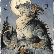 "American Legacy Fine Arts presents ""Siegfried and Fafnir"" a painting by Williams Stout"