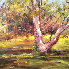 "American Legacy Fine Arts presents ""Franklin Canyon Tree"" a painting by George Gallo."