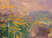 """(DETAIL) George Gallo - Late Fall off of Mulholland Drive, Oil on canvas 18"""" x 24"""""""