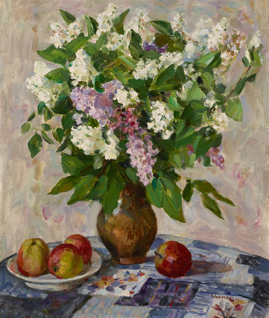 "American Legacy Fine Arts presents ""Lilacs in Vase, 1970"" a painting by Lavrenko, Boris Mikhailovich (1920-2001)"
