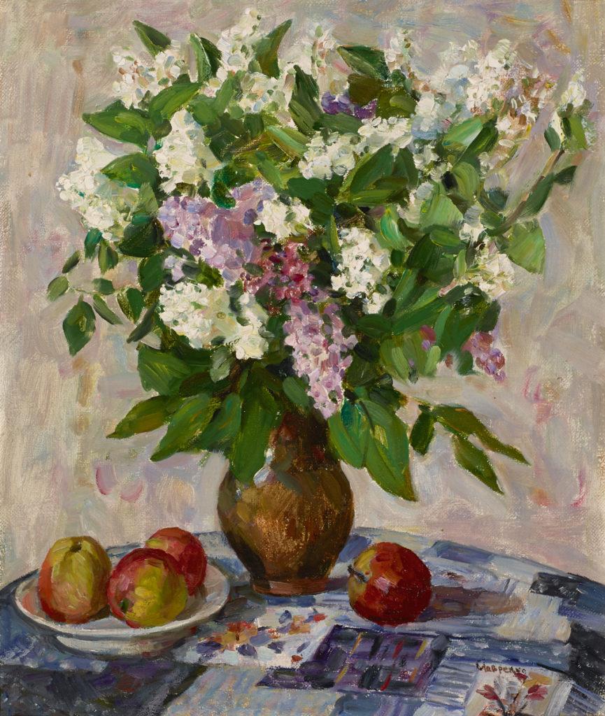 "American Legacy Fine Arts presents ""Lilacs in Vase, 1970"" a painting by Lavrenko, Boris Mikhailovich (1920-2001)"
