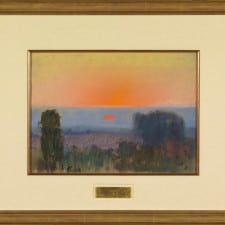 """American Legacy Fine Arts presents """"Trees at Dusk"""" a painting by Theodore N. Lukits (1897-1992)."""