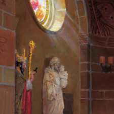 "American Legacy Fine Arts presents ""Sources of Light - St. Andrews Catholic Church, Pasadena"" a painting by Peter Adams."