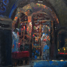 """American Legacy Fine Arts presents """"Golgotha (Station 12) inside the Church of the Holy Sepulcher"""" a painting by Peter Adams."""