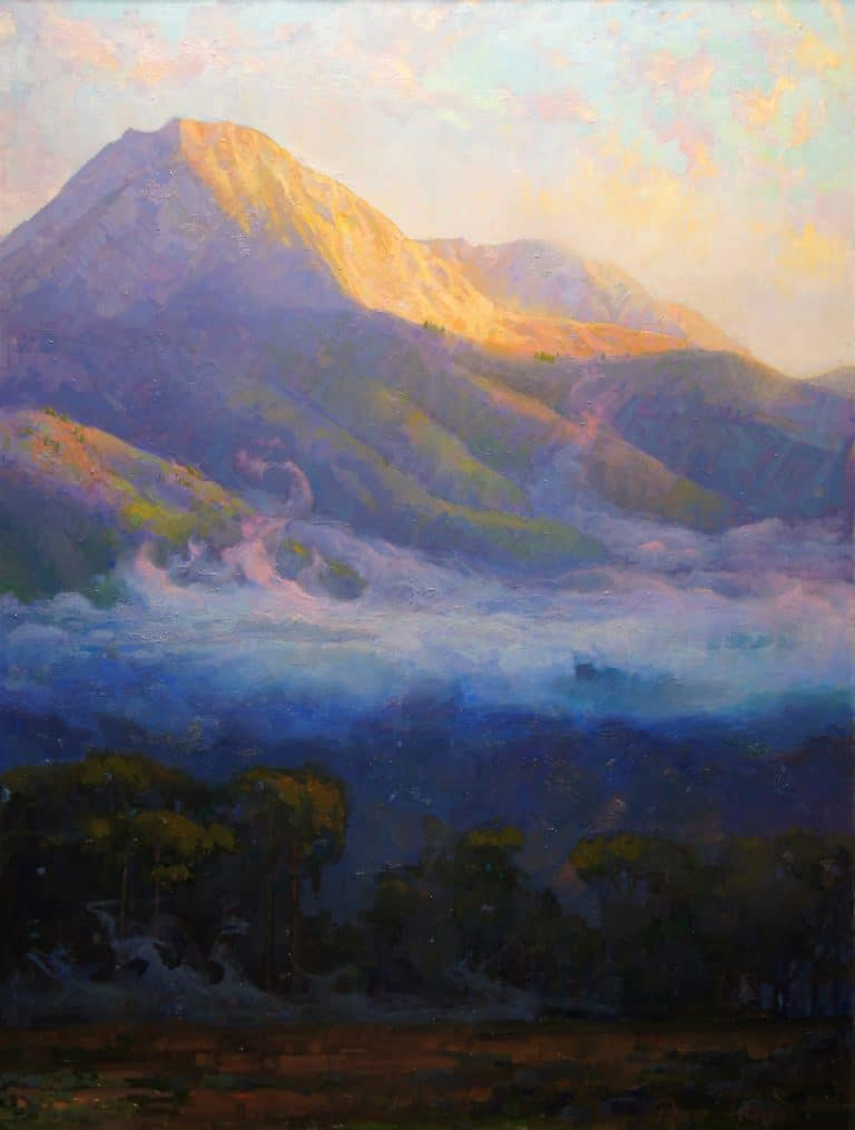 "American Legacy Fine Arts presents ""Morning Clouds Hovering Below Mount Blanca; Trinchera Ranch,Colorado"" a painting by Peter Adams."
