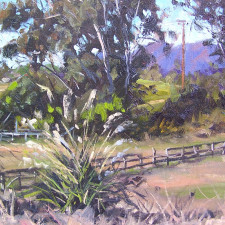 """Scott W. Prior -  Rancho de Guajome, San Diego County, Remnants of California's Cattle Boom of the 1850's, Oil on canvas 11"""" x 14"""""""